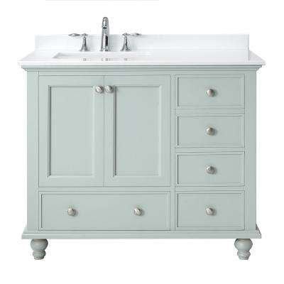 Orillia 42 in. W x 22 in. D Vanity in Misty Latte with Marble Vanity Top in White with White Sink