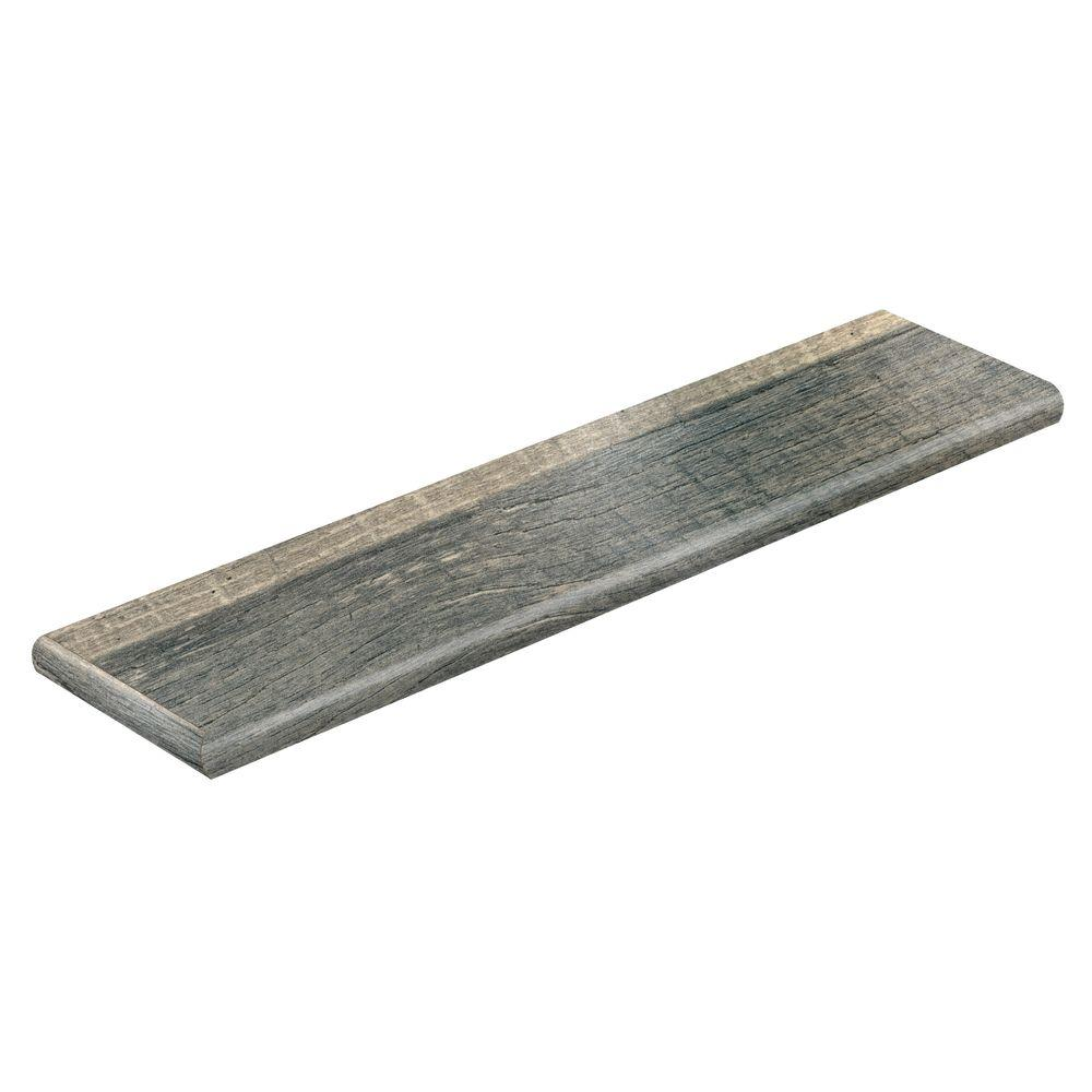 Cross Sawn Oak Grey 47 in. L x 12-1/8 in. D x 1-11/16 in. H Laminate Left Return to Cover Stairs 1 in. Thick