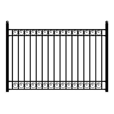 Dublin Style 5 ft. x 8 ft. Black Iron Fence Panel