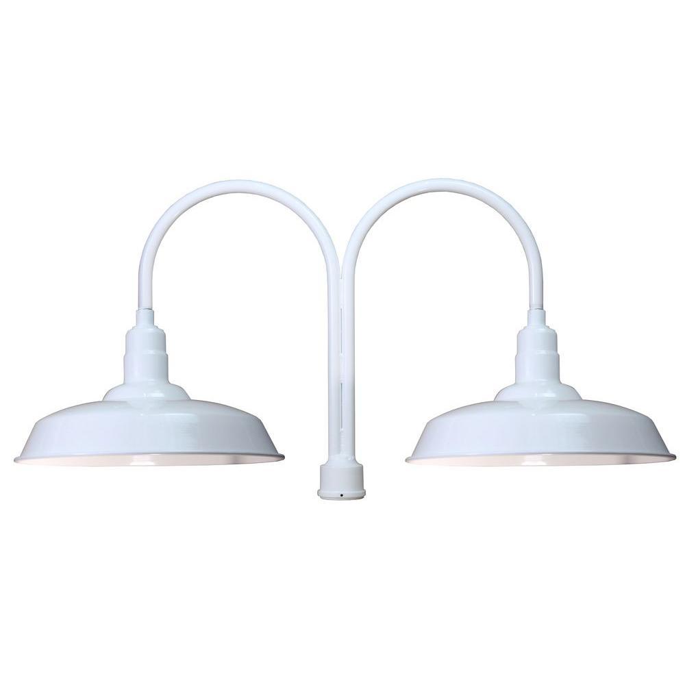 2-Light Outdoor White Warehouse Shade Post Light
