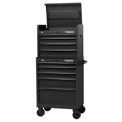 27 in. 10-Drawer Tool Chest and Cabinet Set, Textured Black