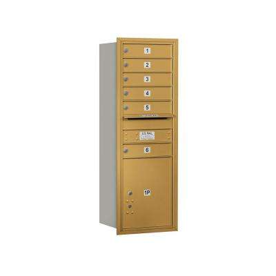 3700 Series 48 in. 13 Door High Unit Gold Private Rear Loading 4C Horizontal Mailbox with 6 MB1 Doors/1 PL5