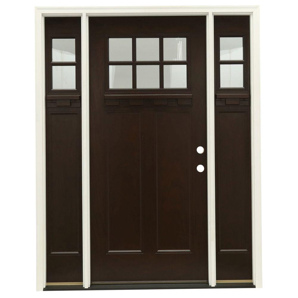 63.5 in.x81.625 in. 6 Lt Clear Craftsman Stained Chestnut Mahogany Left-Hand