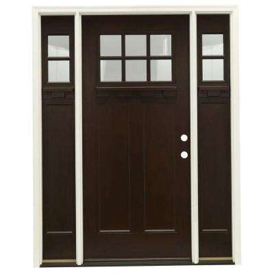 63.5 in.x81.625 in. 6 Lt Clear Craftsman Stained Chestnut Mahogany Left-Hand Fiberglass Prehung Front Door w/ Sidelites