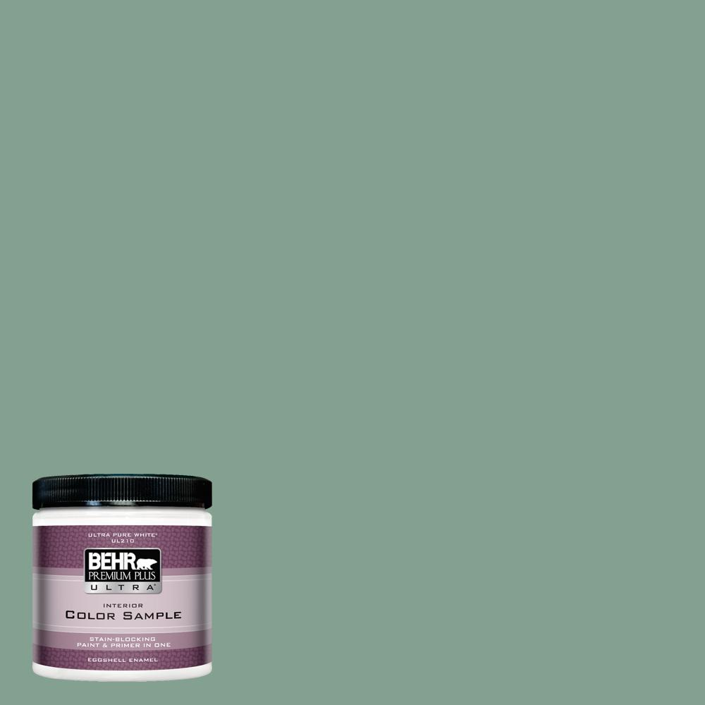 BEHR Premium Plus Ultra 8 oz. #MQ6-11 Mossy Bench Eggshell Enamel Interior Paint and Primer in One Sample