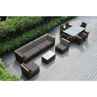 Mixed Brown 14-Piece Wicker Patio Combo Conversation Set with Sunbrella Taupe Cushions