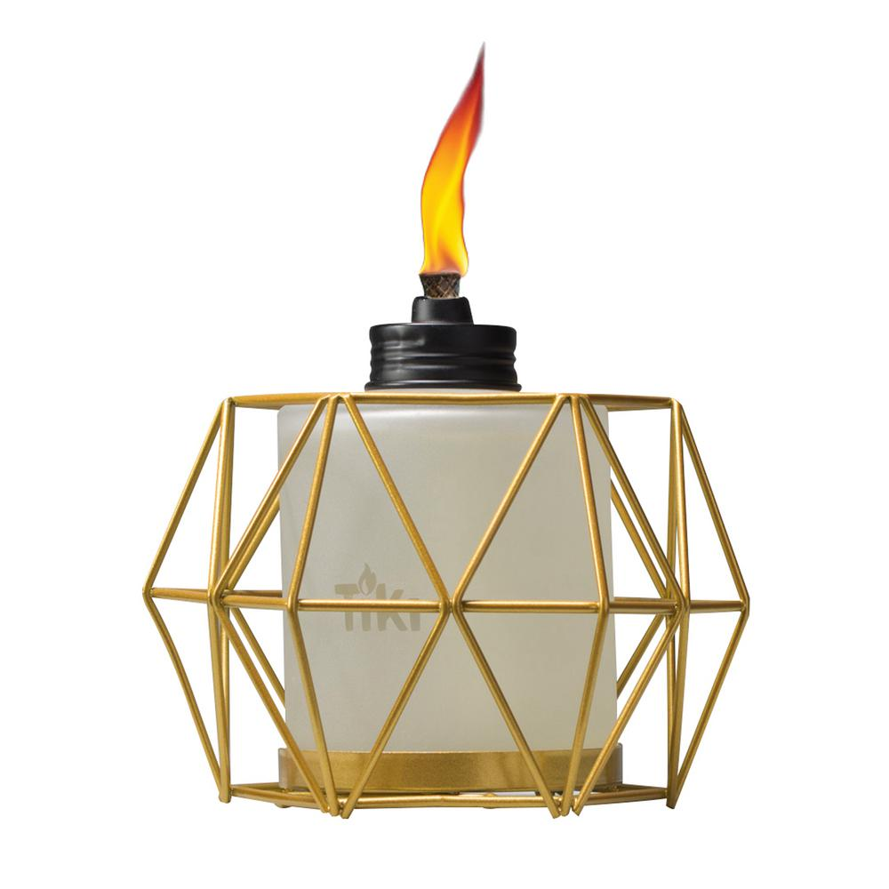 Geo Globe Metal Table Torch Gold