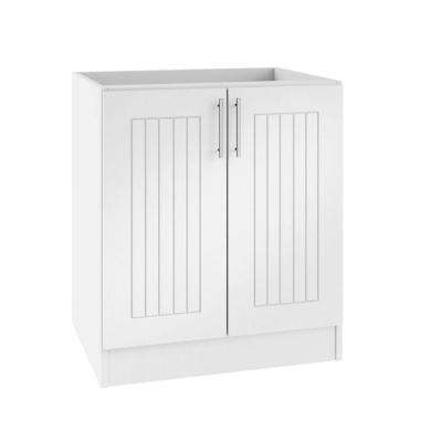 Assembled 36x34.5x24 in. Naples Open Back Outdoor Kitchen Base Cabinet with 2 Full Height Doors in Radiant White