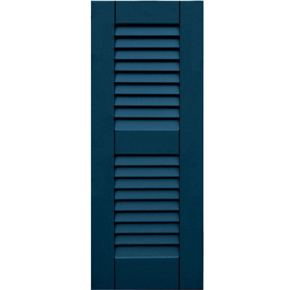 Winworks Wood Composite 12 in. x 31 in. Louvered Shutters Pair #637 Deep Sea Blue