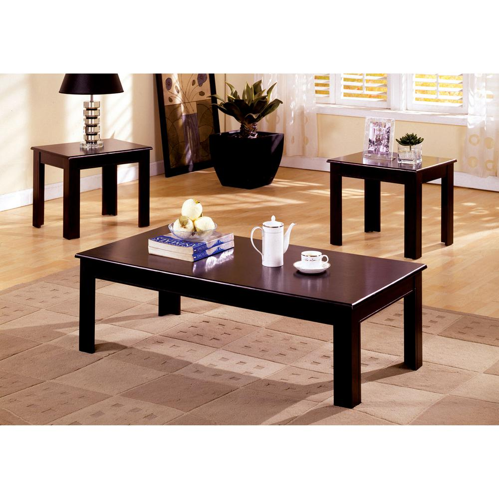 Furniture of America Town Square Espresso 3-Piece End/Side Table Set