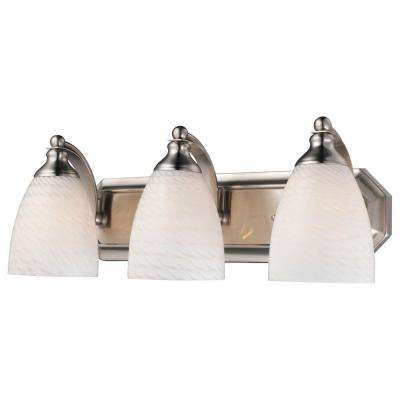 3-Light Satin Nickel Vanity Light with White Swirl Glass