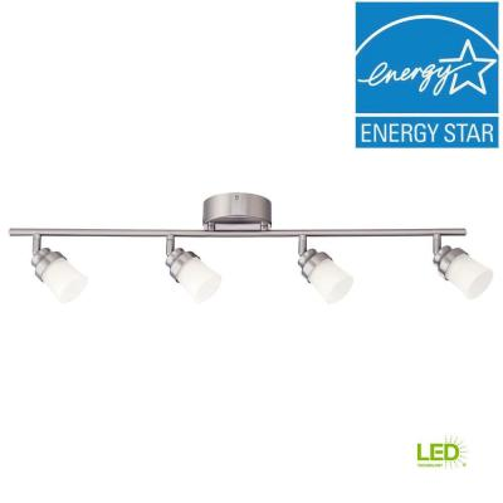 2.6 ft. Brushed Nickel Integrated LED Track Lighting Kit with 4-Lights