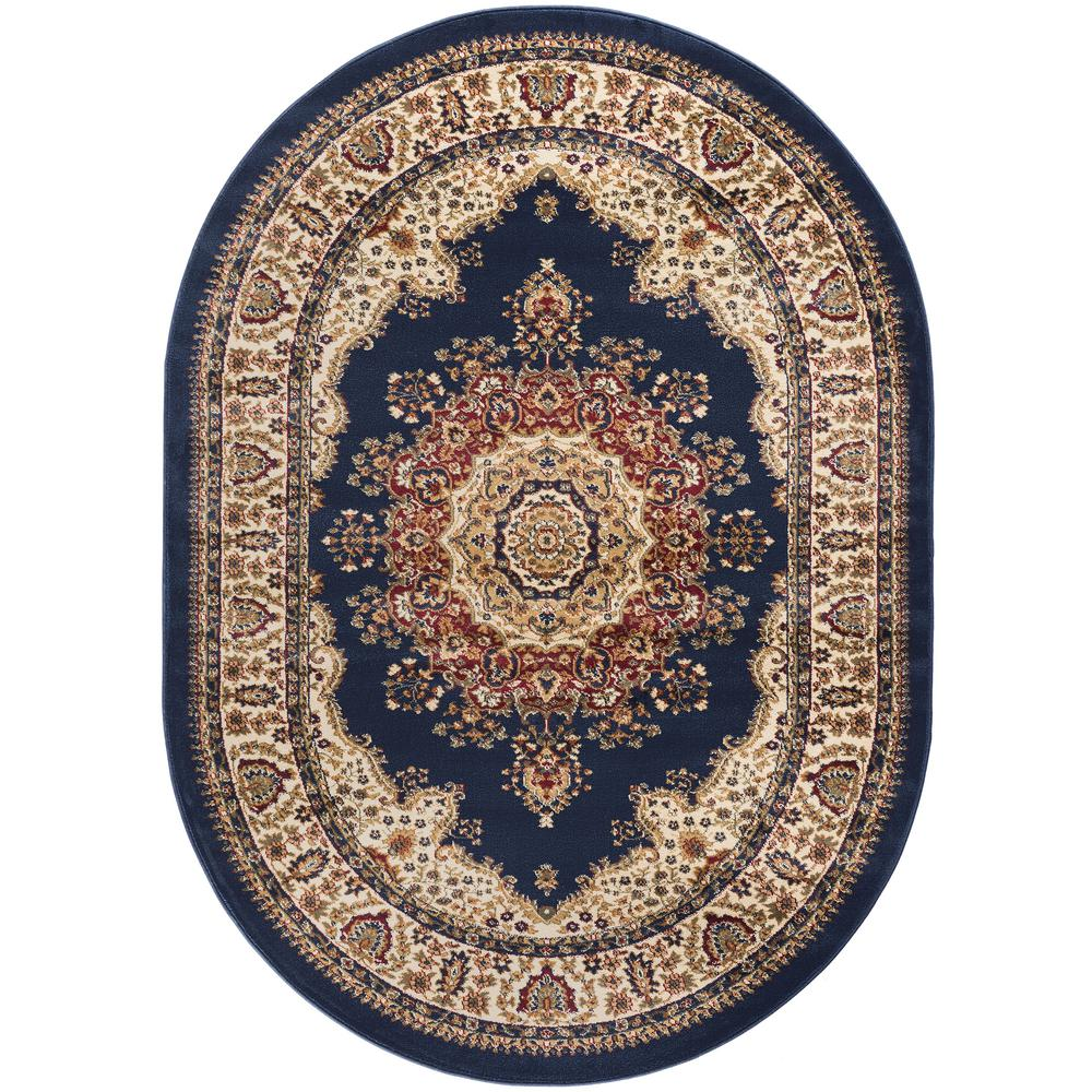 Tayse Rugs Sensation Navy Blue 5 ft. 3 in. x 7 ft. 3 in. Traditional Oval Area Rug