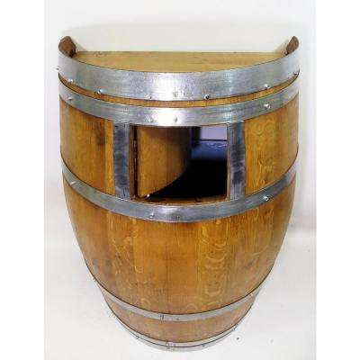 Wine Barrel 26 in. W x 14 in. D x 35 in. W Waste Receptacle Lacquer Finished
