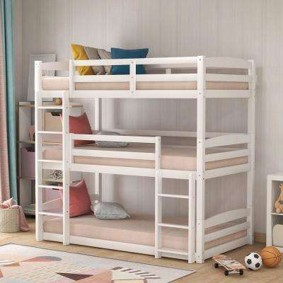 White Twin Size Triple Wood Bunk Bed