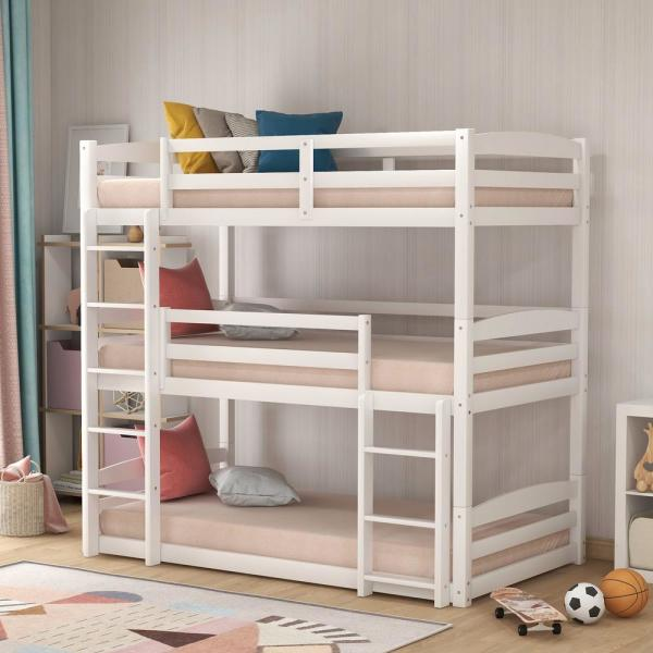 Harper Bright Designs White Twin Size Triple Wood Bunk Bed Sm000090aak The Home Depot