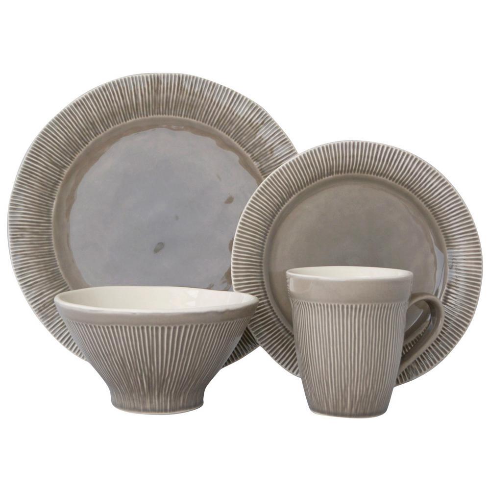 Sango Chromatic 16-Piece Gray Dinnerware Set-3591GY800ACM14 - The ...