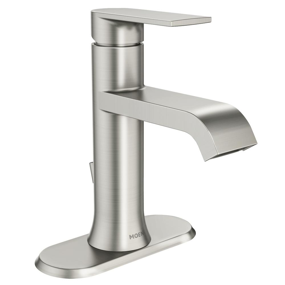 Moen genta single hole single handle bathroom faucet in - Single hole bathroom faucets brushed nickel ...