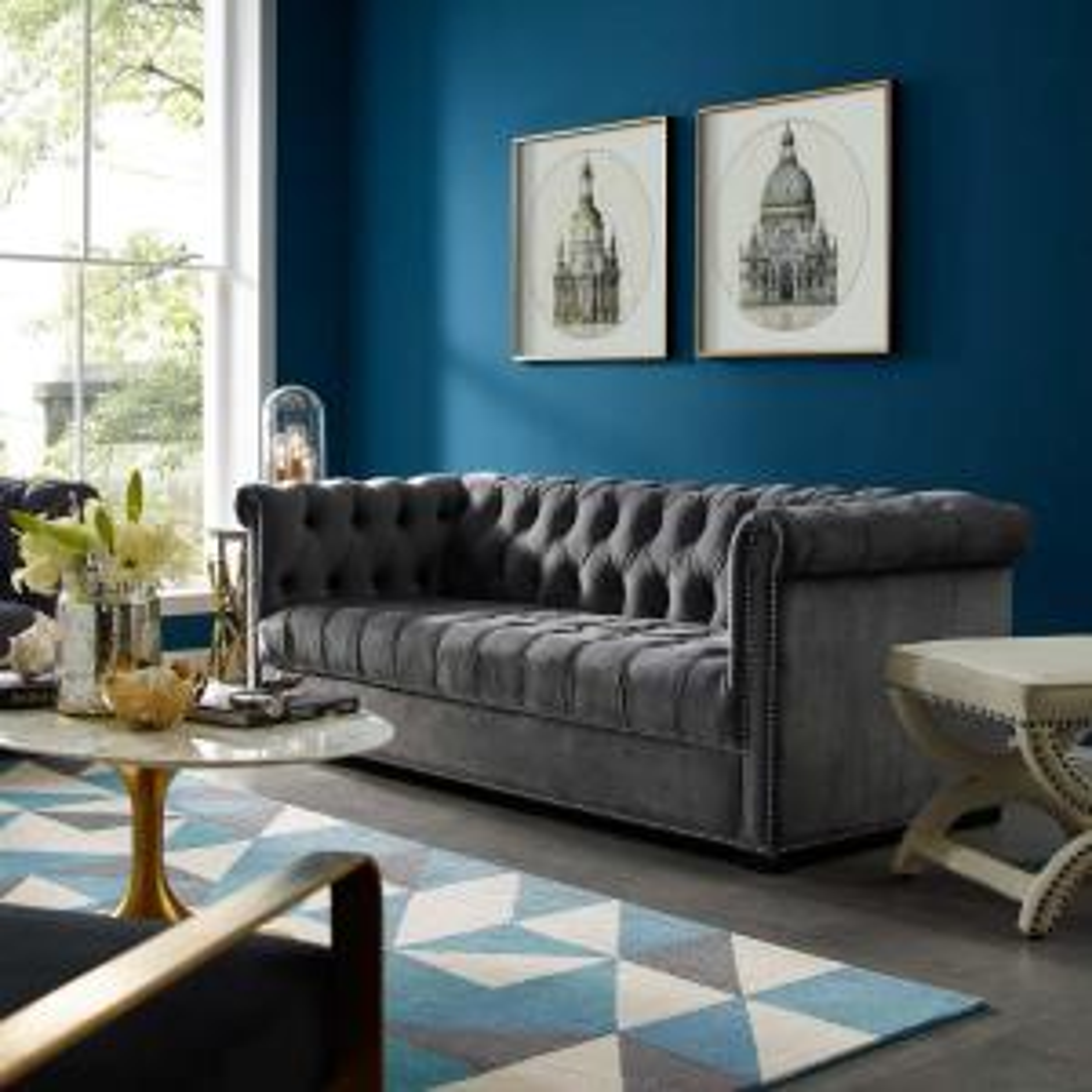 Phenomenal Modway Heritage Gray Upholstered Velvet Sofa Eei 3064 Gry Cjindustries Chair Design For Home Cjindustriesco