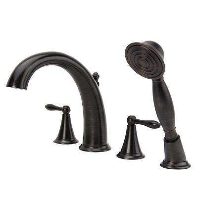 Montbeliard 2-Handle Deck-Mount Roman Tub Faucet with Handshower in Oil Rubbed Bronze