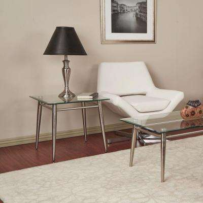 Brooklyn Nickel Brush Glass Top End Table