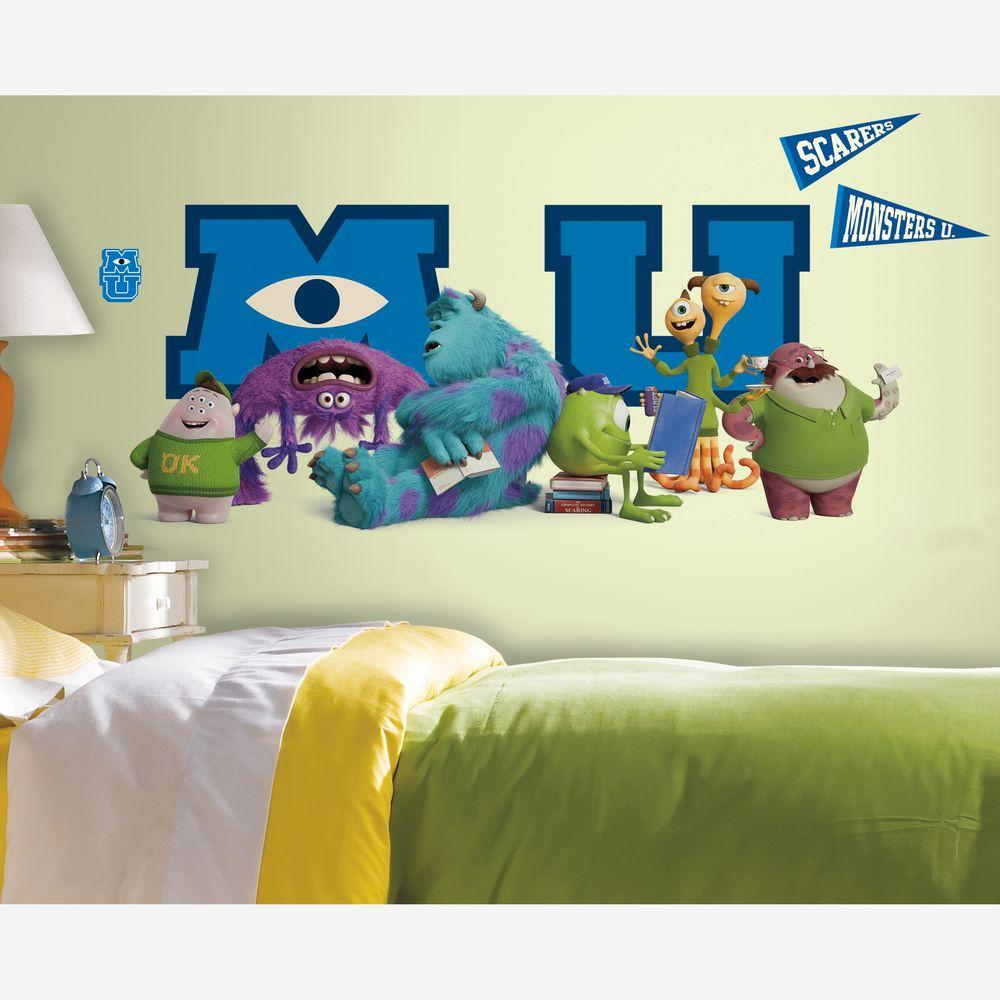 null 5 in. x 19 in. Monsters University Giant Character Collage Peel and Stick 6-Piece Wall Decals