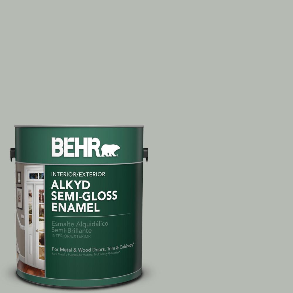 1 gal. #HDC-AC-21 Keystone Gray Semi-Gloss Enamel Alkyd Interior/Exterior Paint