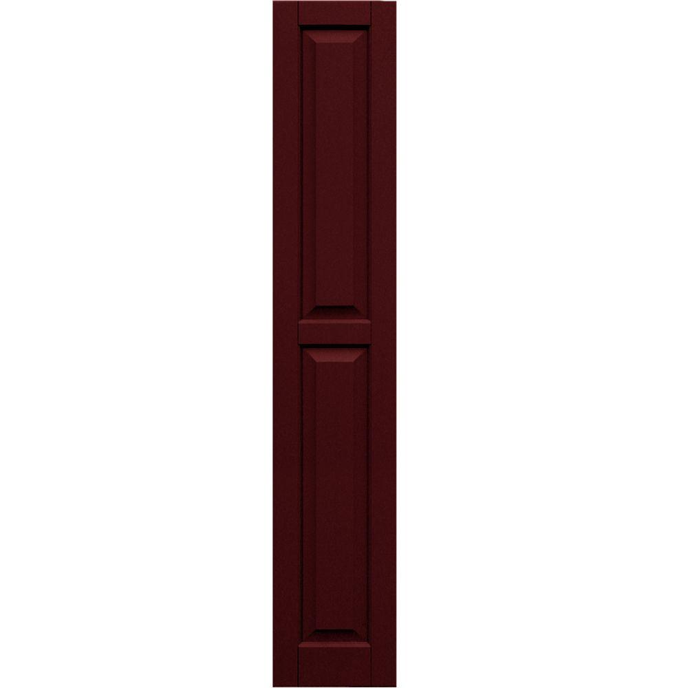 Winworks Wood Composite 12 in. x 68 in. Raised Panel Shutters Pair #650 Board and Batten Red