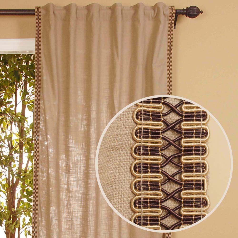 Home Decorators Collection Semi-Opaque Beige Back Tab Curtain