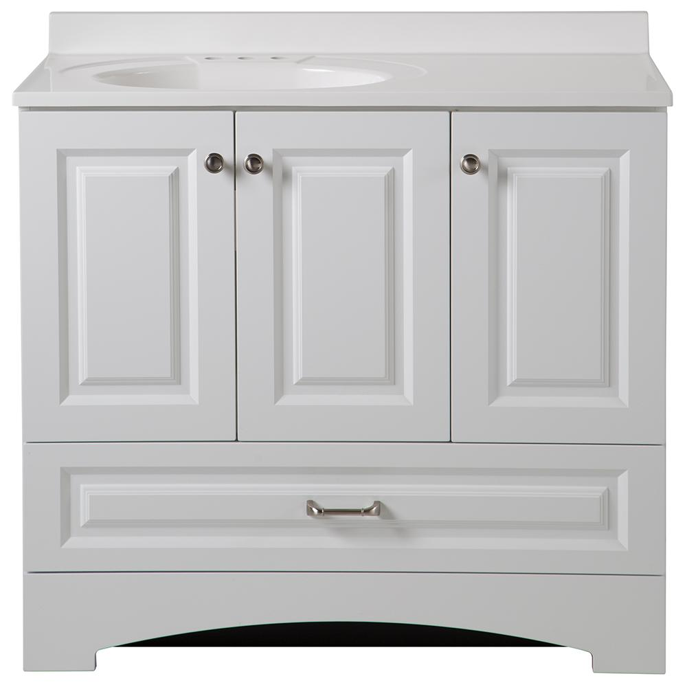 W Side Drawer Vanity In White With Alpine Composite Top Lc36p2 Wh The Home Depot
