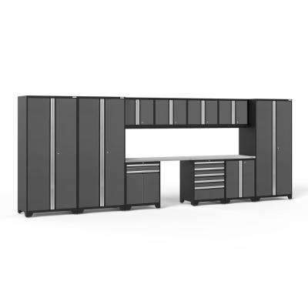 Pro Series 3.0 220 in. W x 85.25 in. H x 24 in. D 18-Gauge Welded Steel Garage Cabinet Set in Gray (12-Piece)