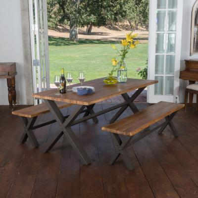 Ramiro 3-Piece Teak Finish Acacia Wood Dining Set