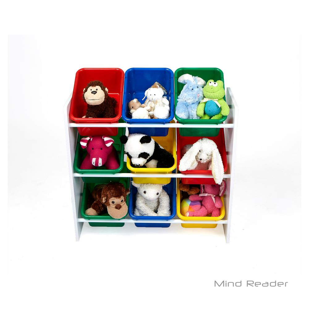 Mind Reader 3 Tier Toy Storage Organizer With 9 Plastic Bins