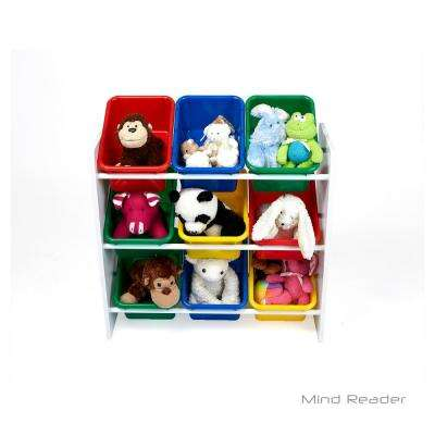 3-Tier Toy Storage Organizer with 9 Plastic Bins