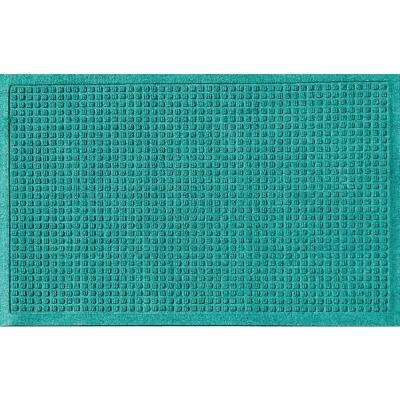 Aquamarine 24 in. x 36 in. Squares Polypropylene Door Mat