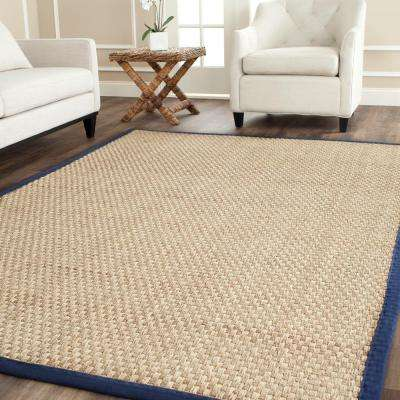 Natural Fiber Beige/Blue 8 ft. x 10 ft. Area Rug