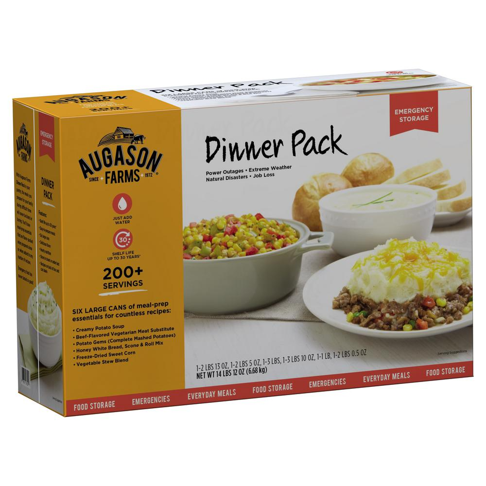 AUGASON FARMS Dinner Variety Pack Emergency Food Supply 6 Large Cans 30 Year Shelf Life