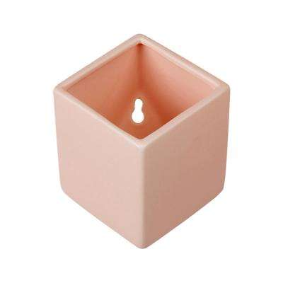 Cube 3-1/2 in. x 4 in. Coral Ceramic Wall Planter