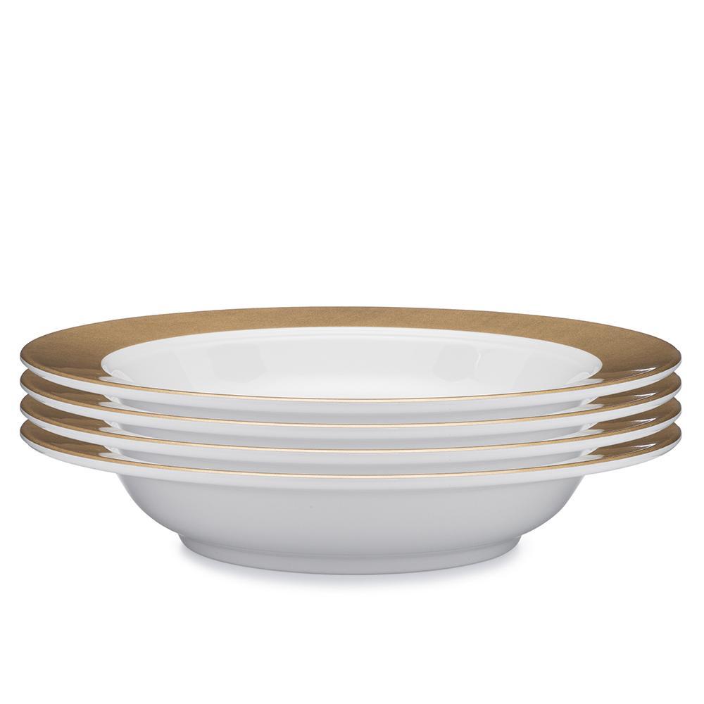 Moonbeam 4-Piece Gold Melamine 10.5 in. Ring Pasta Bowl Set