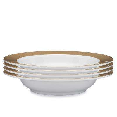 Moonbeam 4-Piece Gold Melamine 10.5 in. Ring Pasta Bowl Set