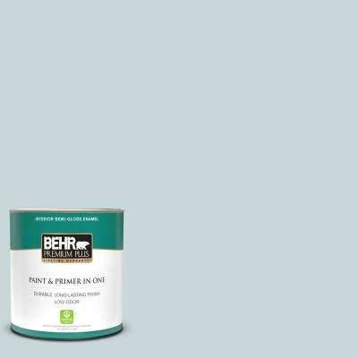 1 qt. #PPU13-16 Offshore Mist Semi-Gloss Enamel Low Odor Interior Paint and Primer in One