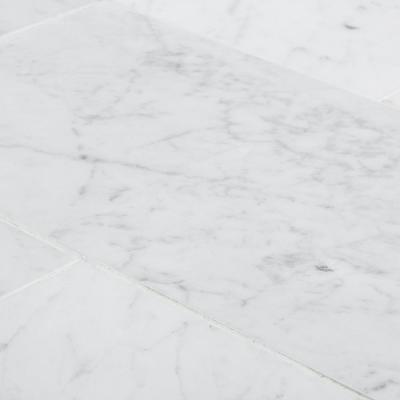 Italian White Carrara 6 in. x 12 in. Honed Marble Wall and Floor Tile (1 sq. ft./Pack)