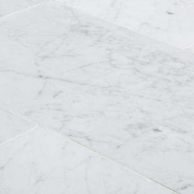 Italian White Carrara 6 in. x 12 in. Honed Marble Floor and Wall Tile (1 sq. ft. / pack)