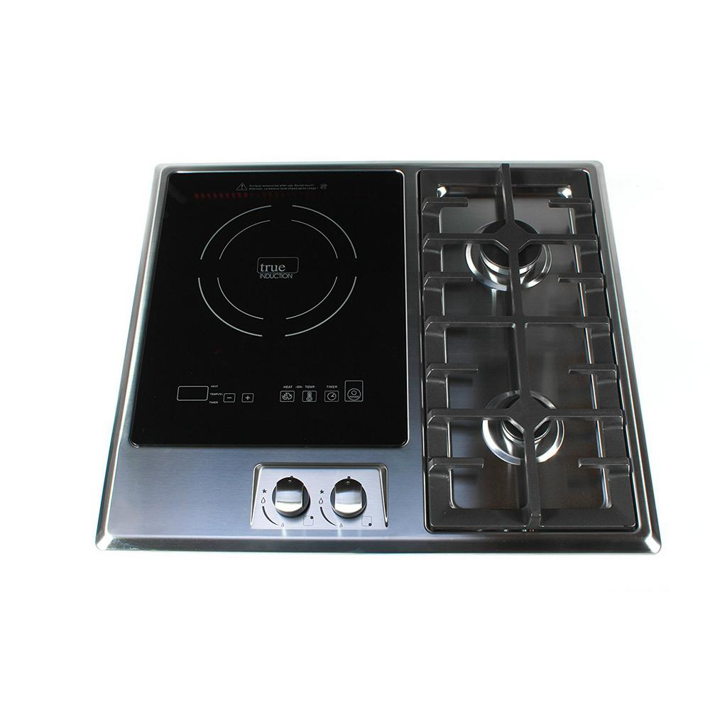 True Induction 25 in. Induction + Gas Combo Cooktop Stainless Steel and Glass with 1 Induction + 2 Gas Burners, Black/Silver Built-in RV stove with 2 Gas Burners and Induction Cooktop. Comes with a risk-free 60 day trial from True Induction, and two year limited warranty. Intended for outdoor use, professional installation only. Features include: built-in safety functions, quick touch level selection, exact temperature settings and timer setting with product registration. Color: Black / Stainless Steel.