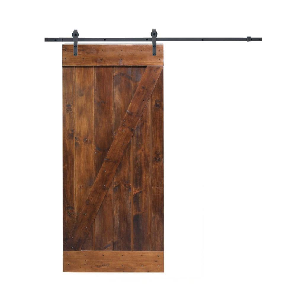 CALHOME 24 in. x 84 in. Knotty Pine Finished Wood Sliding Barn Door with Matte Black Bent Strap Hardware Kit, Walnut Stain was $389.0 now $259.0 (33.0% off)