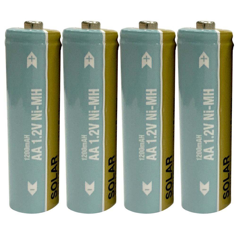 Nickel-Metal Hydride 1200mAh Solar Rechargeable AA Batteries (4-Pack)
