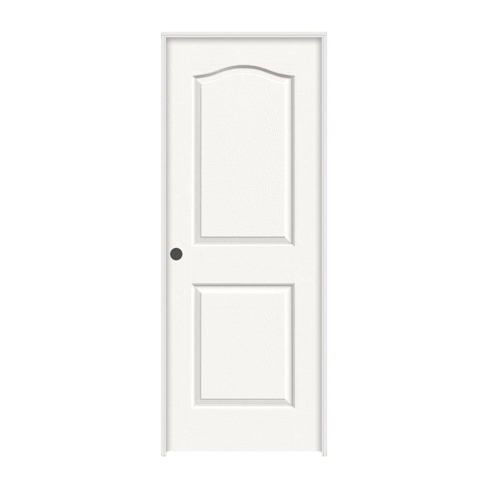 JELD-WEN 30 in. x 80 in. Princeton White Painted Right-Hand Smooth Solid Core Molded Composite MDF Single Prehung Interior Door