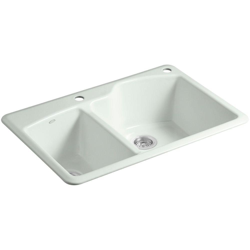 Wheatland Drop-in Cast-Iron 33 in. 2-Hole Double Bowl Kitchen Sink in Sea Salt