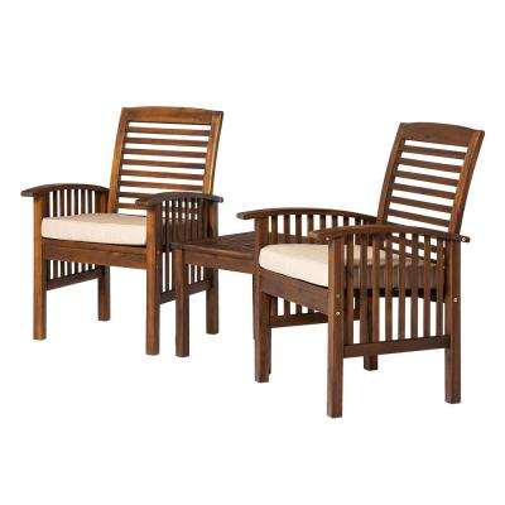 Dark Brown 3-Piece Wood Conversational Patio Set with Cream Cushions