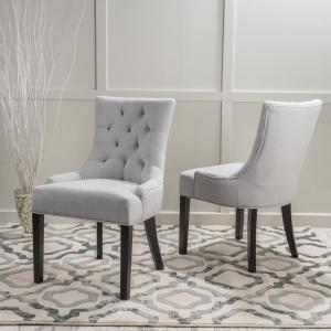 Super Noble House Hayden Light Grey Fabric Dining Chair Set Of 2 Ibusinesslaw Wood Chair Design Ideas Ibusinesslaworg